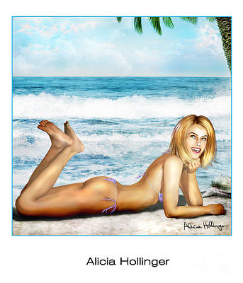 Mixed Media - Blonde On Beach by Alicia Hollinger