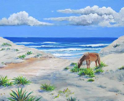 Blonde On The Beach Art Print by Anne Marie Brown