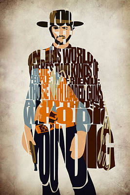 Typographic Digital Art - Blondie Poster From The Good The Bad And The Ugly by Ayse and Deniz