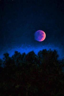 Blood Moon Digital Painting Art Print by Vizual Studio