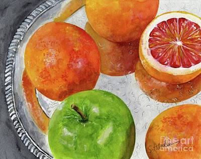 Blood Oranges On Silver Tray  Art Print by Sheryl Heatherly Hawkins