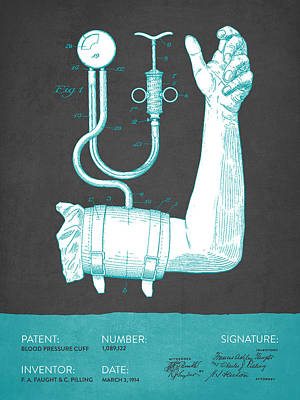 Blood Pressure Cuff Patent From 1914 - Gray Turquoise Art Print by Aged Pixel