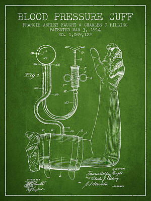 Blood Pressure Cuff Patent From 1914 -green Art Print by Aged Pixel