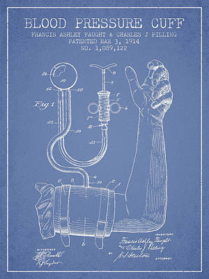 Blood Pressure Cuff Patent From 1914 -light Blue Art Print