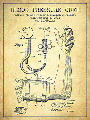 Pressure Drawing - Blood Pressure Cuff Patent From 1914 -vintage by Aged Pixel