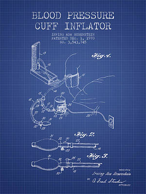 Blood Pressure Cuff Patent From 1970 - Blueprint Art Print by Aged Pixel