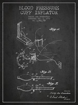 Hearts Digital Art - Blood Pressure Cuff Patent From 1970 - Dark by Aged Pixel