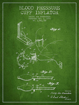 Hearts Digital Art - Blood Pressure Cuff Patent From 1970 - Green by Aged Pixel