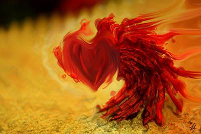 Abstract Hearts Digital Art - Blood Red Heart by Linda Sannuti