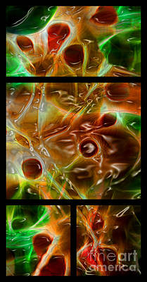 Fractals Digital Art - Blood Work Triptych by Peter Piatt