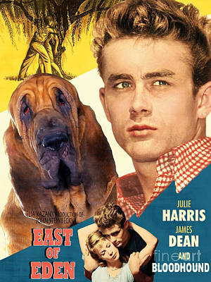 Bloodhound Painting - Bloodhound Art Canvas Print - East Of Eden Movie Poster by Sandra Sij