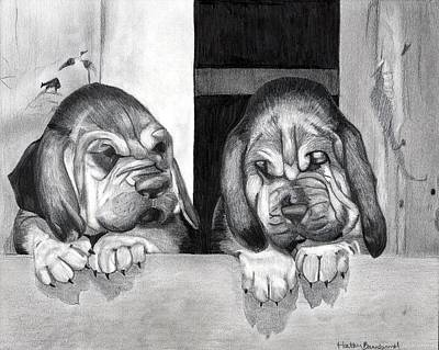 Bloodhound Puppies Dog Portrait  Art Print by Olde Time  Mercantile