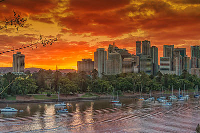 Photograph - Golden Brisbane Sunset by Peter Lombard