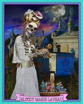 Bloody Marie Laveau Art Print by Tammy Wetzel