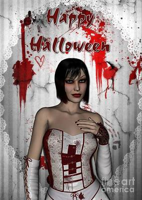 Digital Art - Bloody Nurse Halloween by JH Designs