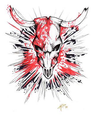 Drawing - Bloody Skull by Miguel Karlo Dominado