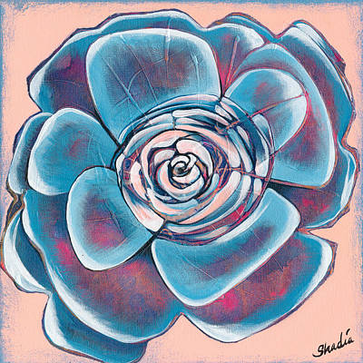 Succulent Painting - Bloom I by Shadia Derbyshire