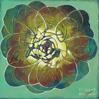 Succulent Painting - Bloom IIi by Shadia Derbyshire