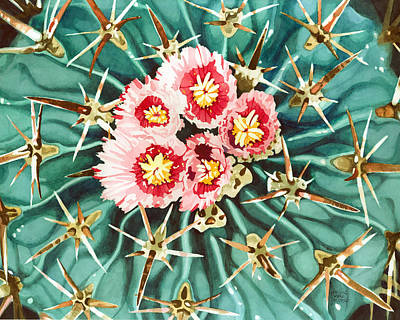 Painting - Bloomin' Horse Crippler Cactus by Pauline Walsh Jacobson