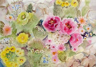 Cali Painting - Blooming Cacti by Neela Pushparaj