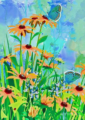 Mixed Media - Blooming Daisies by Olga Hamilton