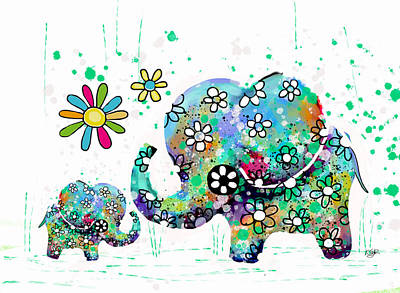 Cute Cards For Kids Painting - Blooming Elephants by Karin Taylor