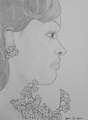 Drawing - Blooming Girl For Get Me Not   by Aaron El-Amin