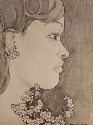 Drawing - Blooming Girl For Get Me Not Refined by Aaron El-Amin