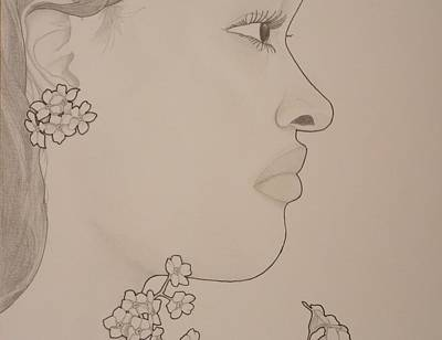 Drawing - Blooming Girl For Get Me Not Up Close by Aaron El-Amin