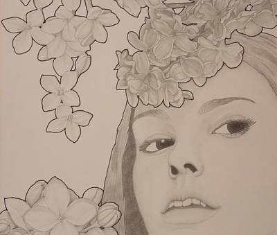 Drawing - Blooming Girl Lilac Close Up by Aaron El-Amin