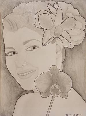 Drawing - Blooming Girl Orchid And Gardenia  Refined by Aaron El-Amin