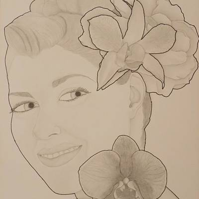 Drawing - Blooming Girl Orchid And Gardenia Up Close by Aaron El-Amin
