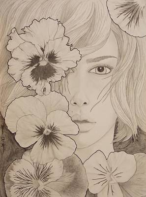 Drawing - Blooming Girl Pansy Refined by Aaron El-Amin