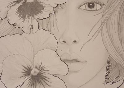 Drawing - Blooming Girl Pansy Up Close by Aaron El-Amin