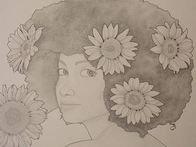 Drawing - Blooming Girl Sunflower 2 by Aaron El-Amin