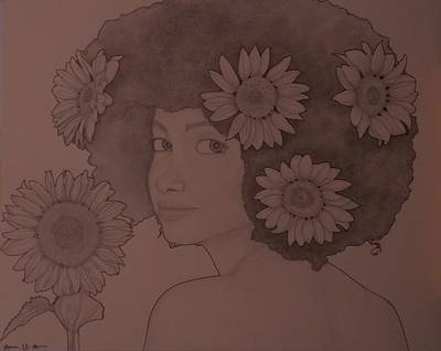 Drawing - Blooming Girl Sunflower In Shade Of Purple by Aaron El-Amin