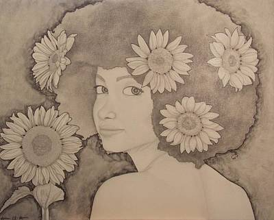 Drawing - Blooming Girl Sunflower Refined by Aaron El-Amin