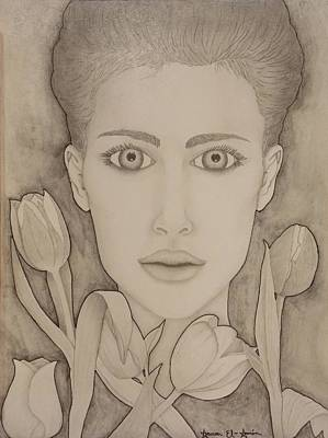 Drawing - Blooming Girl Tulip Refined by Aaron El-Amin