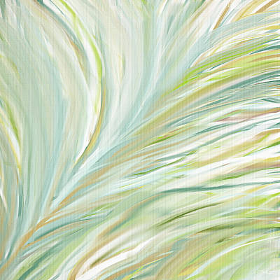 Light Green Abstract Painting - Blooming Grass by Lourry Legarde