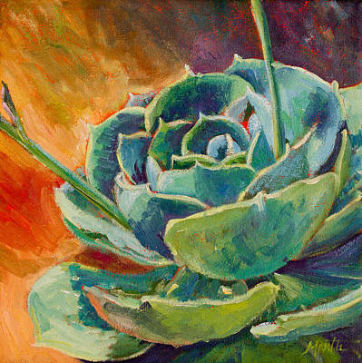 Succulent Painting - Blooming Hen by Athena Mantle
