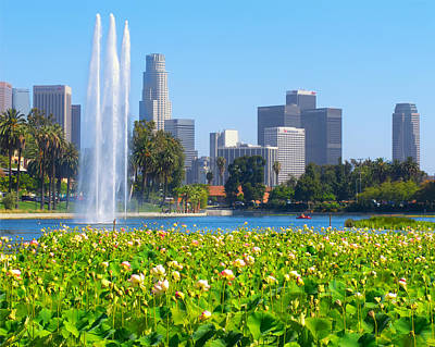 Photograph - Blooming Lotus Echo Park And Downtown Los Angeles Skyline by Ram Vasudev