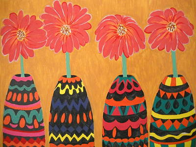 Painting - Blooms In Native Dress by Roberta Dunn