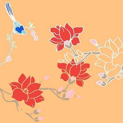 Bluebirds Painting - Blossom Birds by Anna Platts
