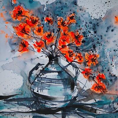 Still Life Painting - Blossom In Blue Mist by Irina Rumyantseva