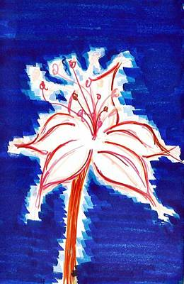 Lillies Drawing - Blossomed Fire by Allyson Andrewz