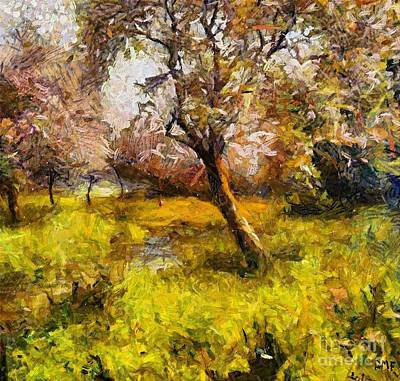 Fruit Tree Art Painting - Blossoming Old Orchard by Dragica  Micki Fortuna