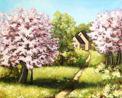 Painting - Blossoming Orchard by Inese Poga