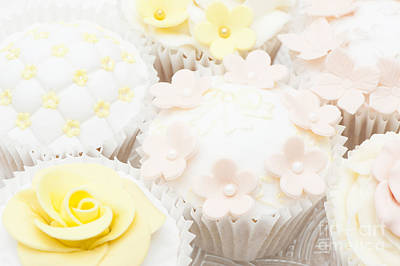 Blossoms And Bows Cupcake Art Print by Anne Gilbert