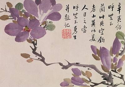 Violet Drawing - Blossoms by Chen Hongshou