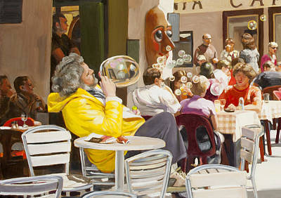 Blowing Bubbles At The Cafe  Art Print by Dominique Amendola